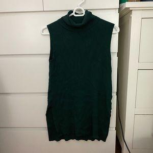 Forest Green Sleeveless Knit Turtleneck
